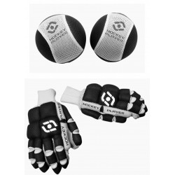 PACK GLOVES AND KNEE PAD HOCKEYPLAYER FABRIC